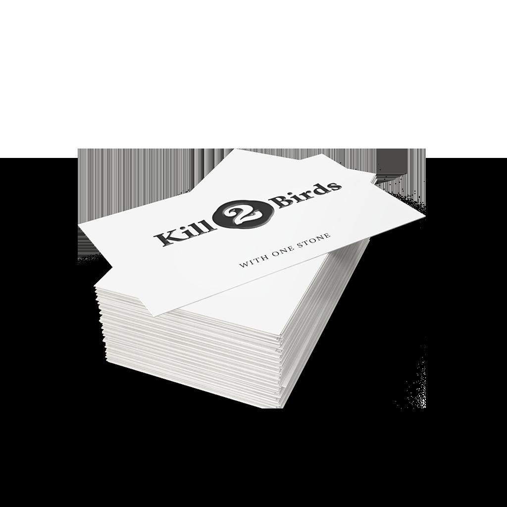 Visitenkarten von Kill2birds mit Logo und Prägung
